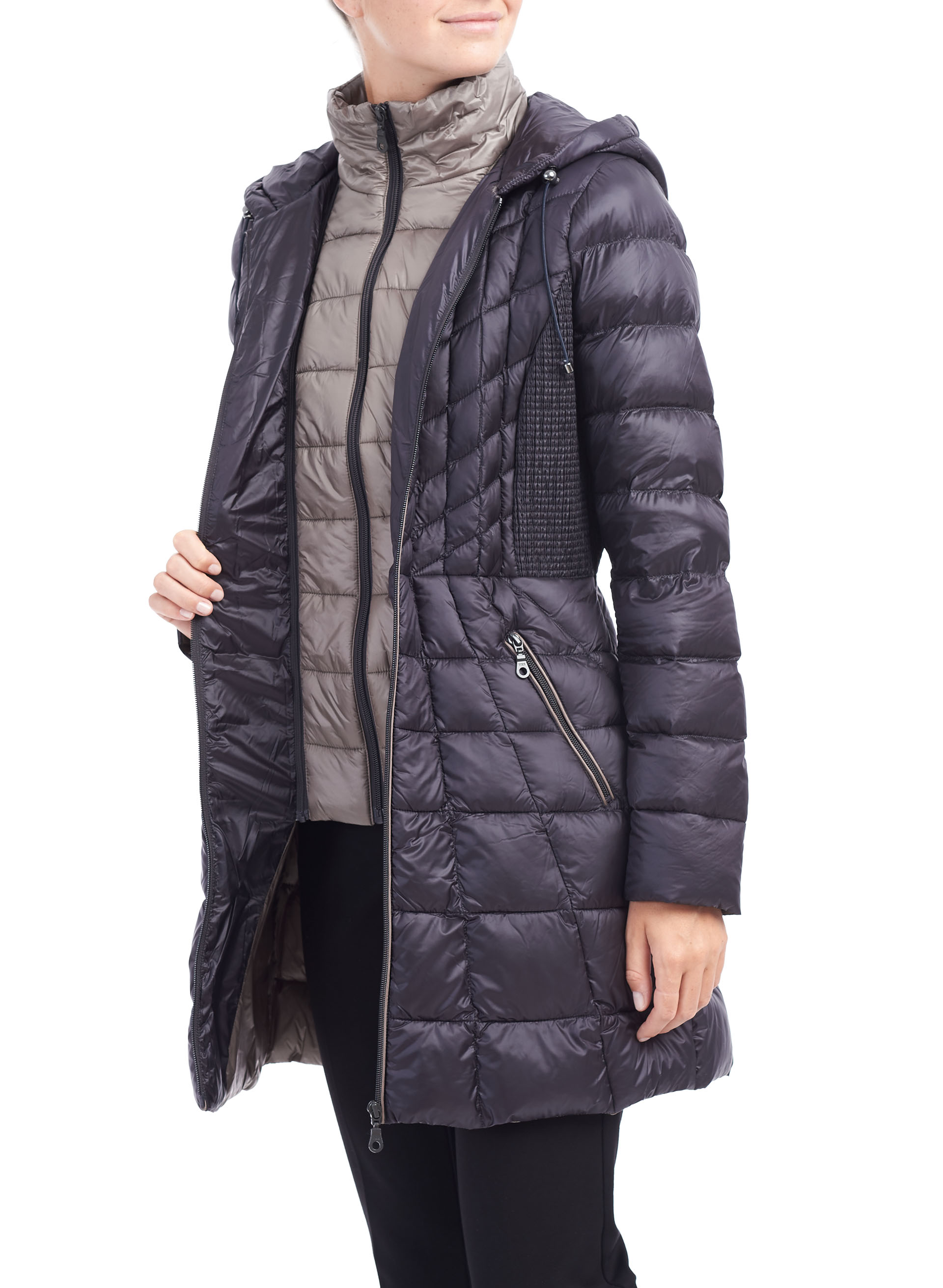 B by Bernardo Packable Coat, Blue, hi-res
