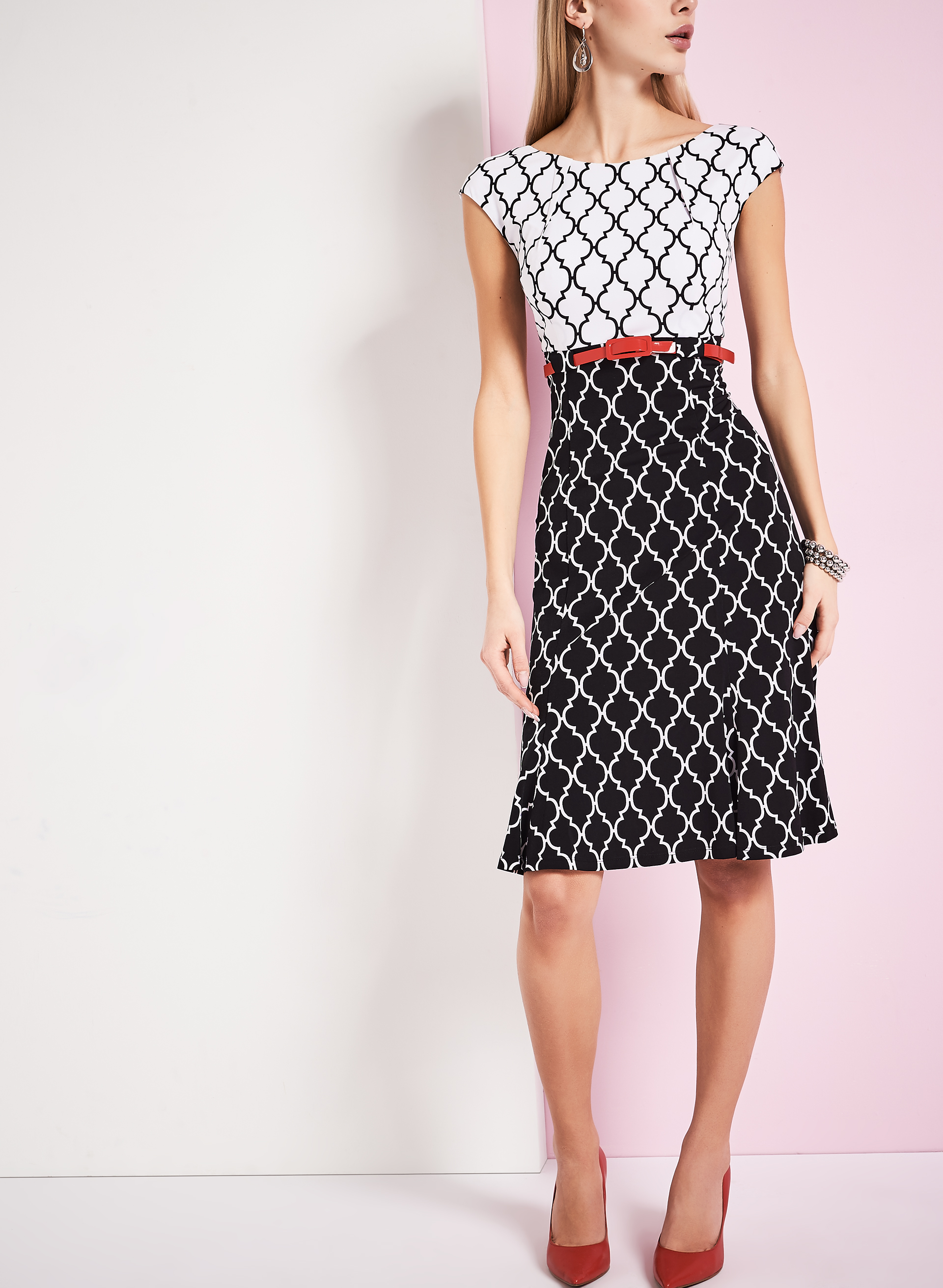 Jersey Belted Diamond Print Dress, Black, hi-res