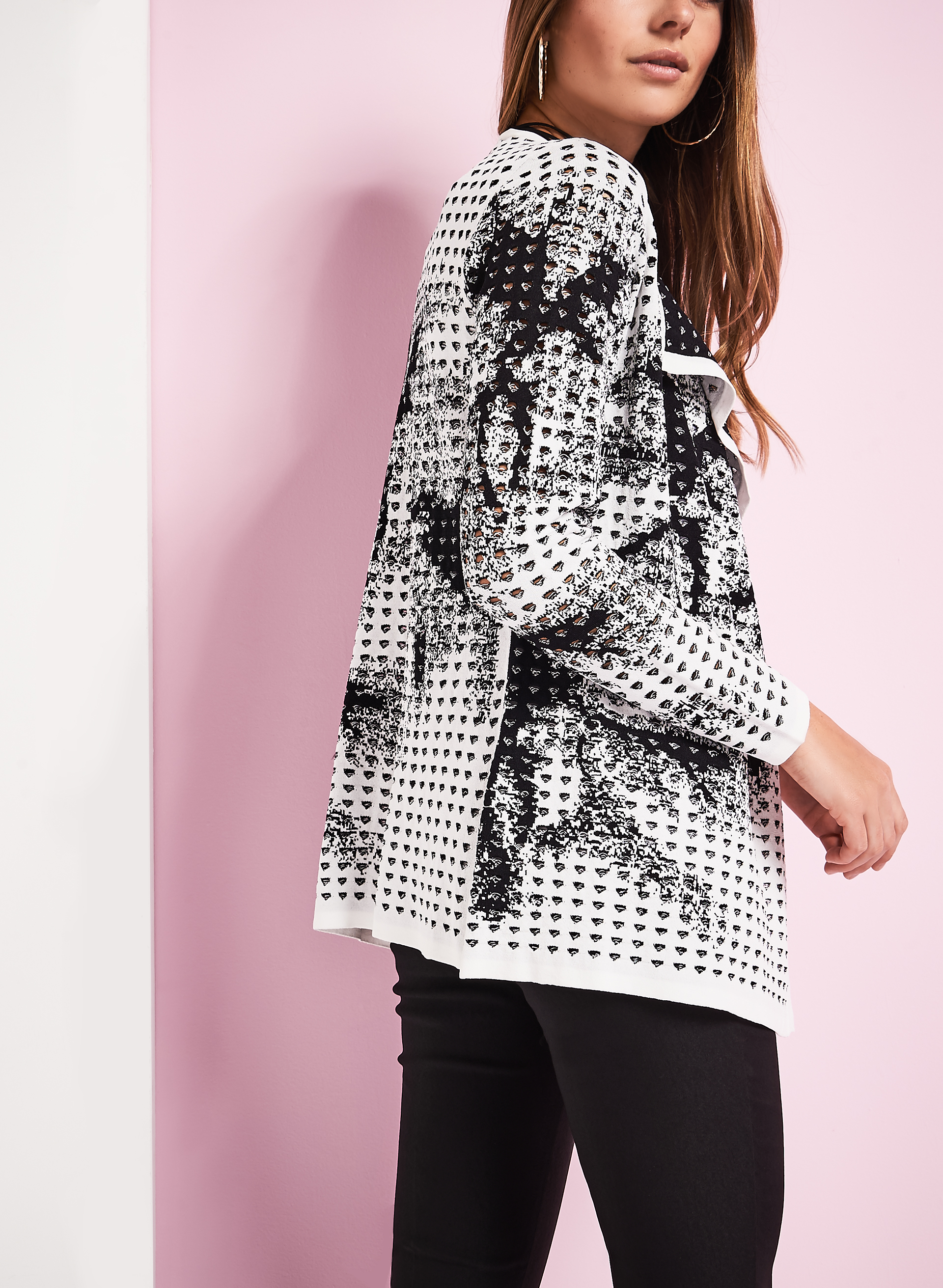 Open Front Jacquard Cardigan, White, hi-res