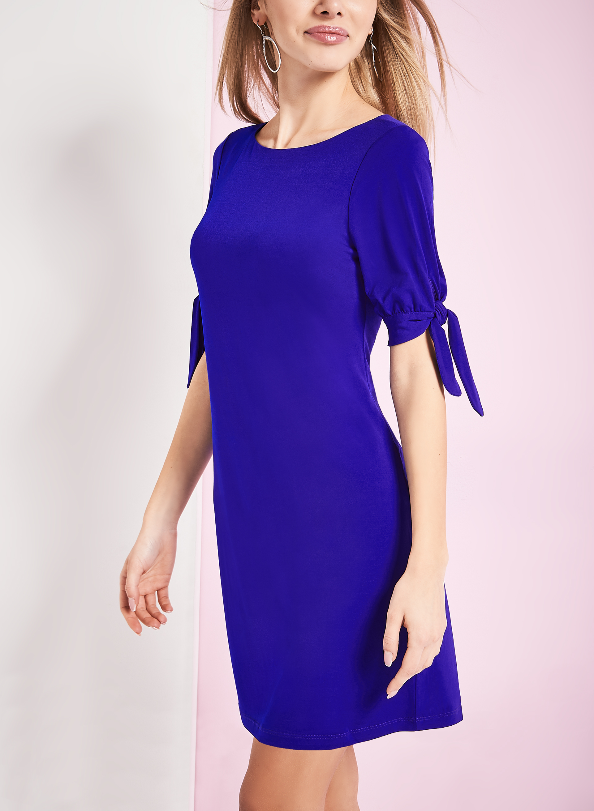 Jersey Tie Detail Shift Dress, Blue, hi-res