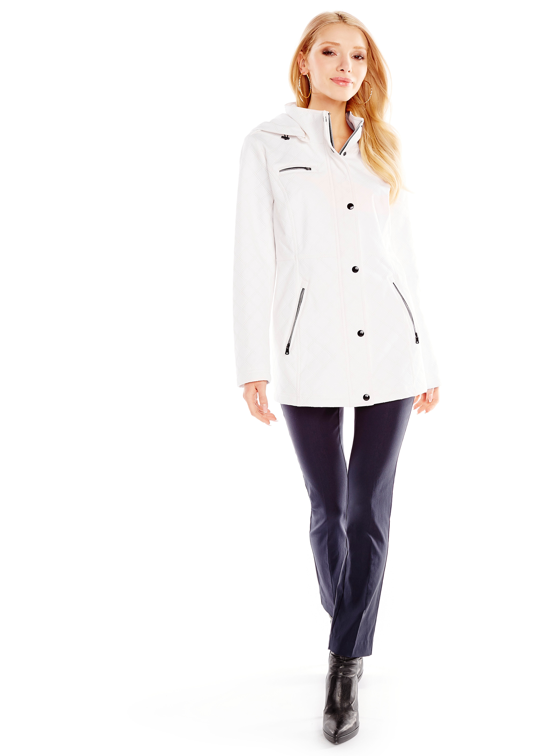Softshell Detachable Hood Coat , White, hi-res