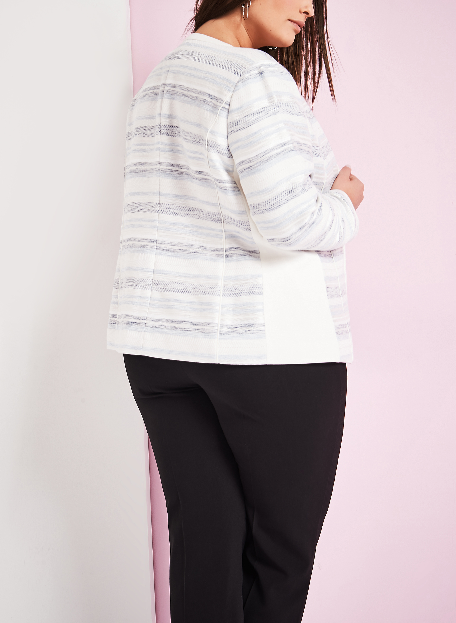 Bouclé Stripe Print Jacket, Blue, hi-res