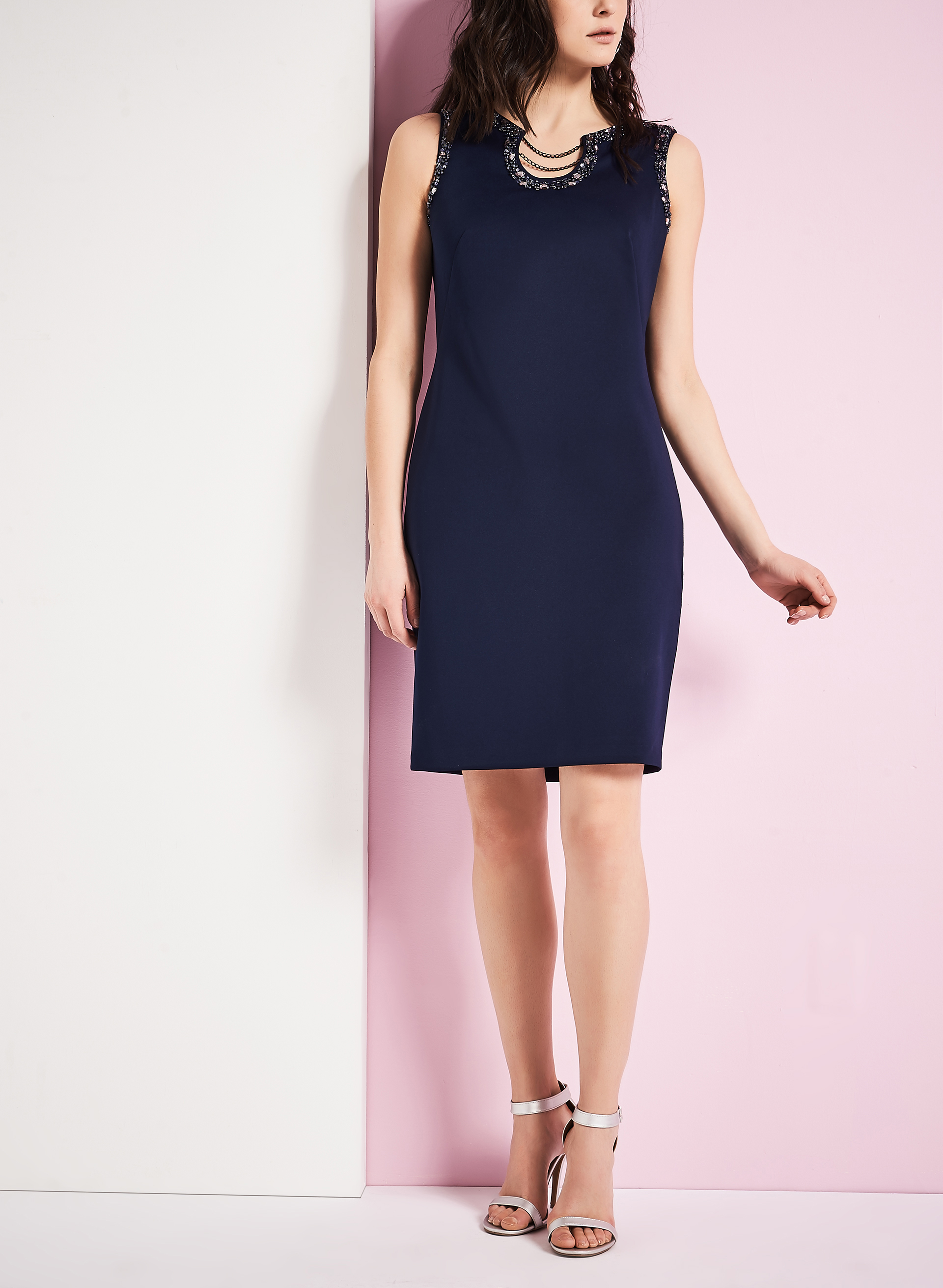 Scuba Beaded Chain Dress, Blue, hi-res