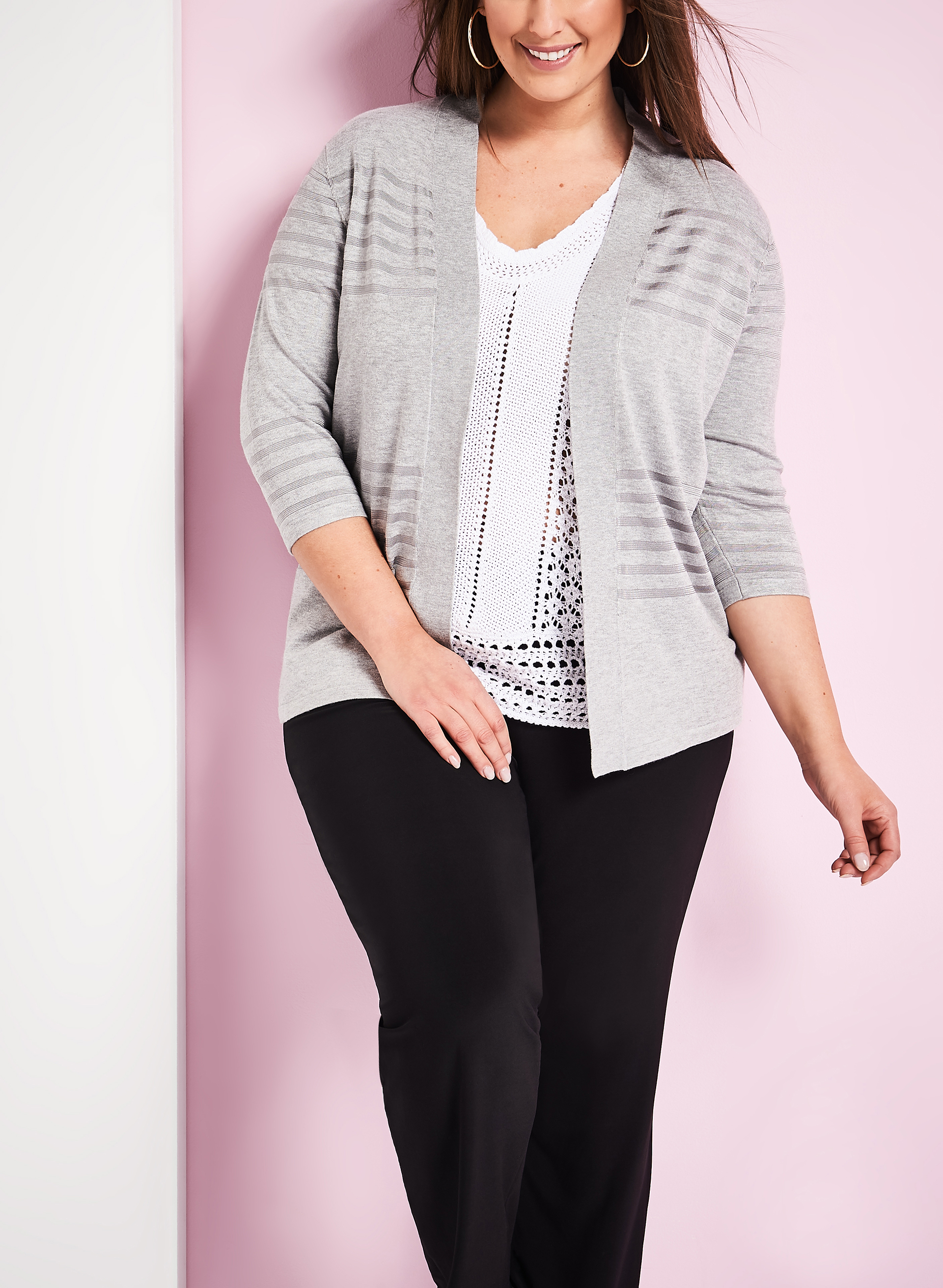 Stripe Print Knit Cardigan, Grey, hi-res