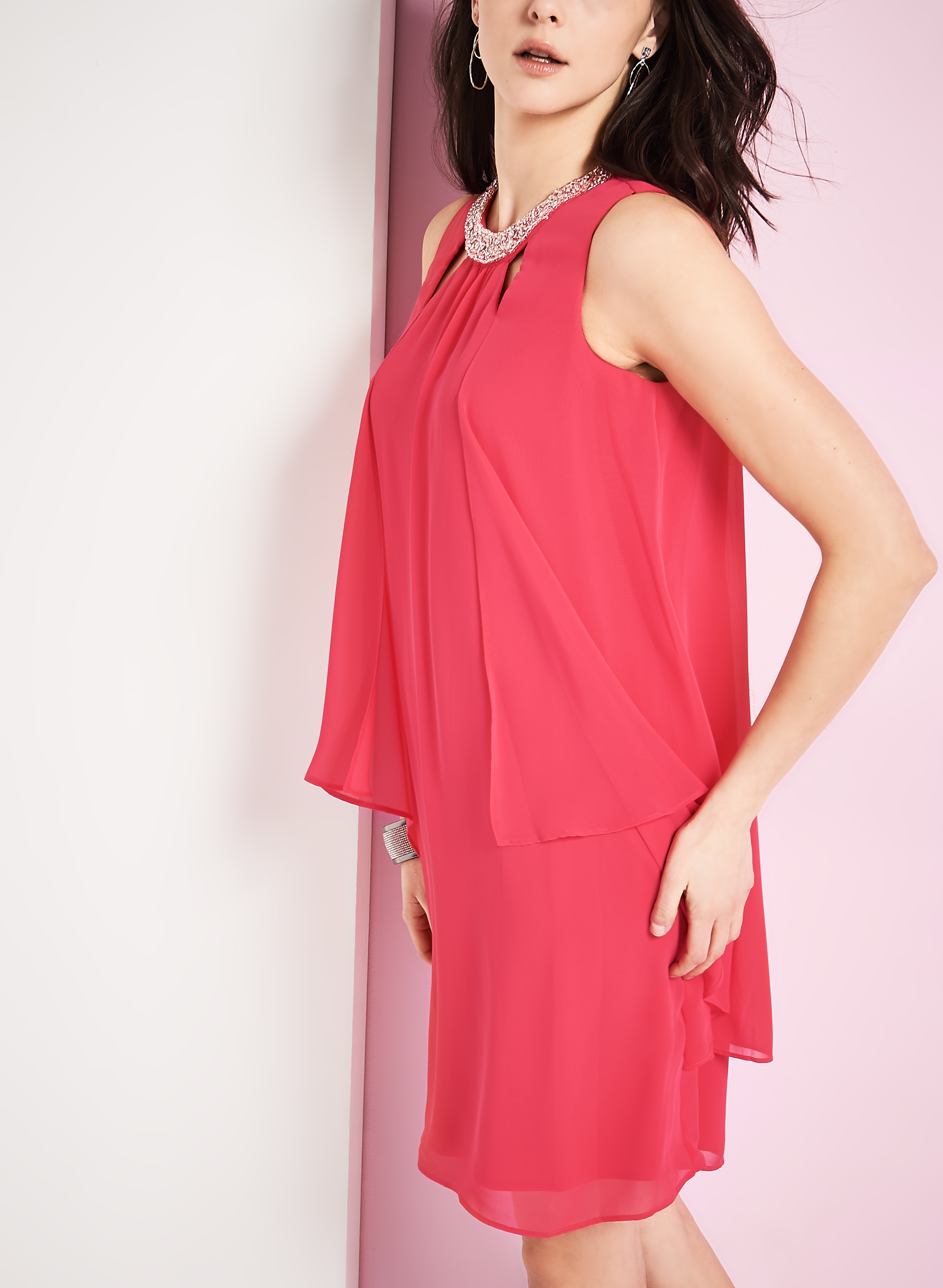 Tiered Beaded Neck Dress, Pink, hi-res