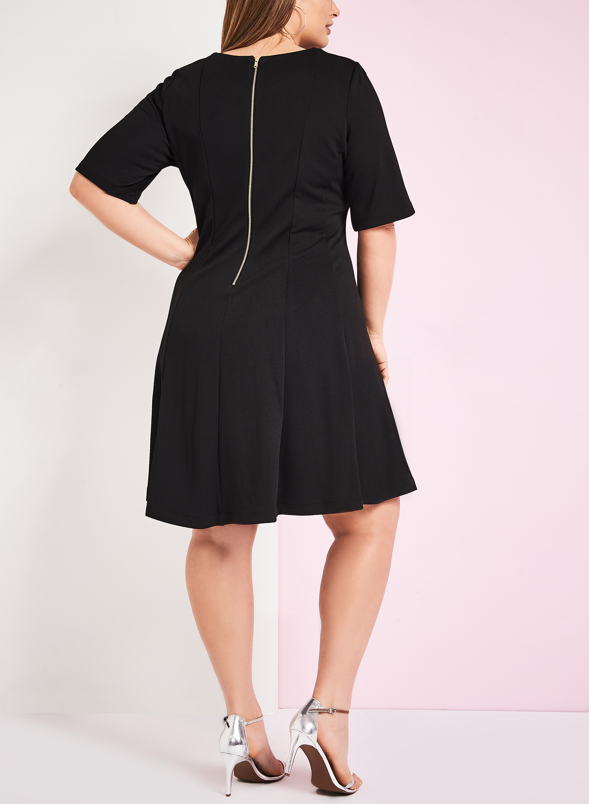 Contrast Piping Fit & Flare Dress, Black, hi-res