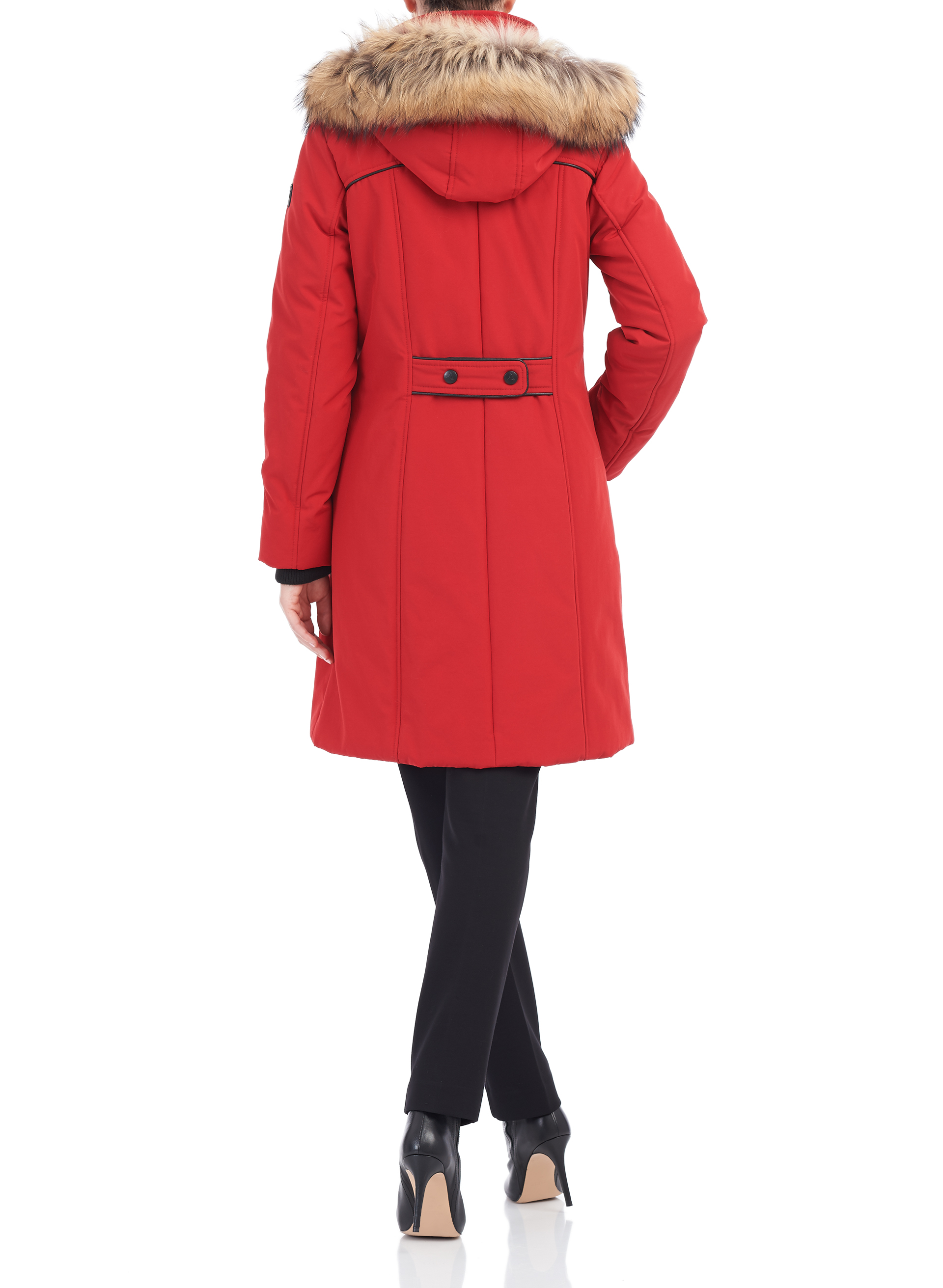 Arctic Tek Raccoon Fur Trim Coat, Red, hi-res
