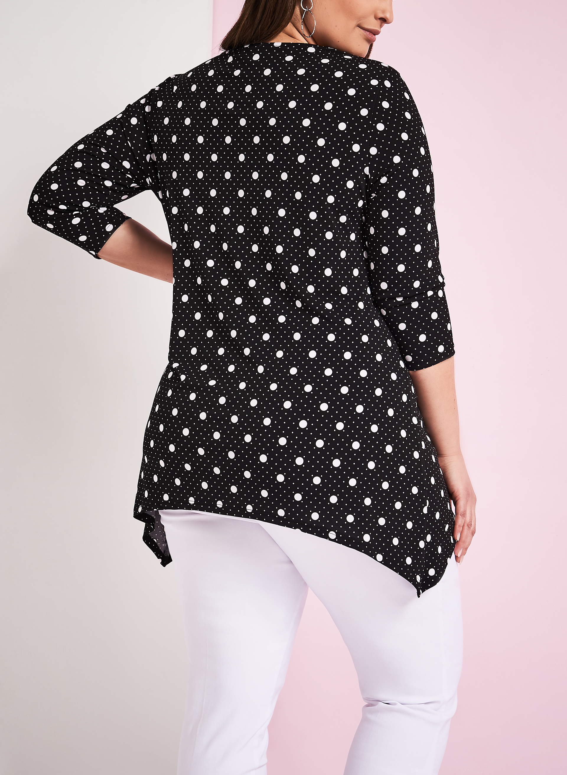 3/4 Sleeve Dot Print Top, Black, hi-res