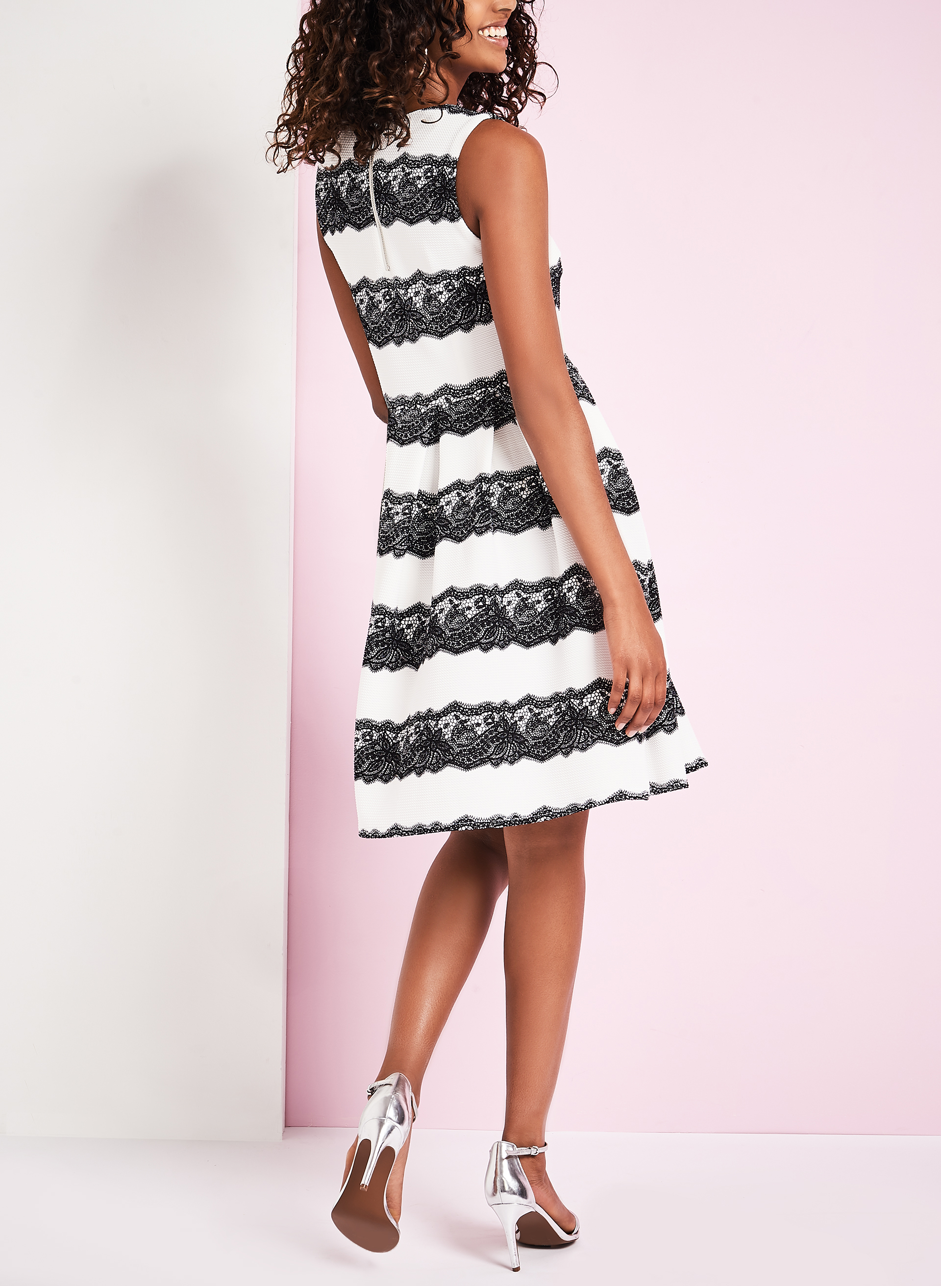 Sleeveless Knit Lace Print Dress, White, hi-res