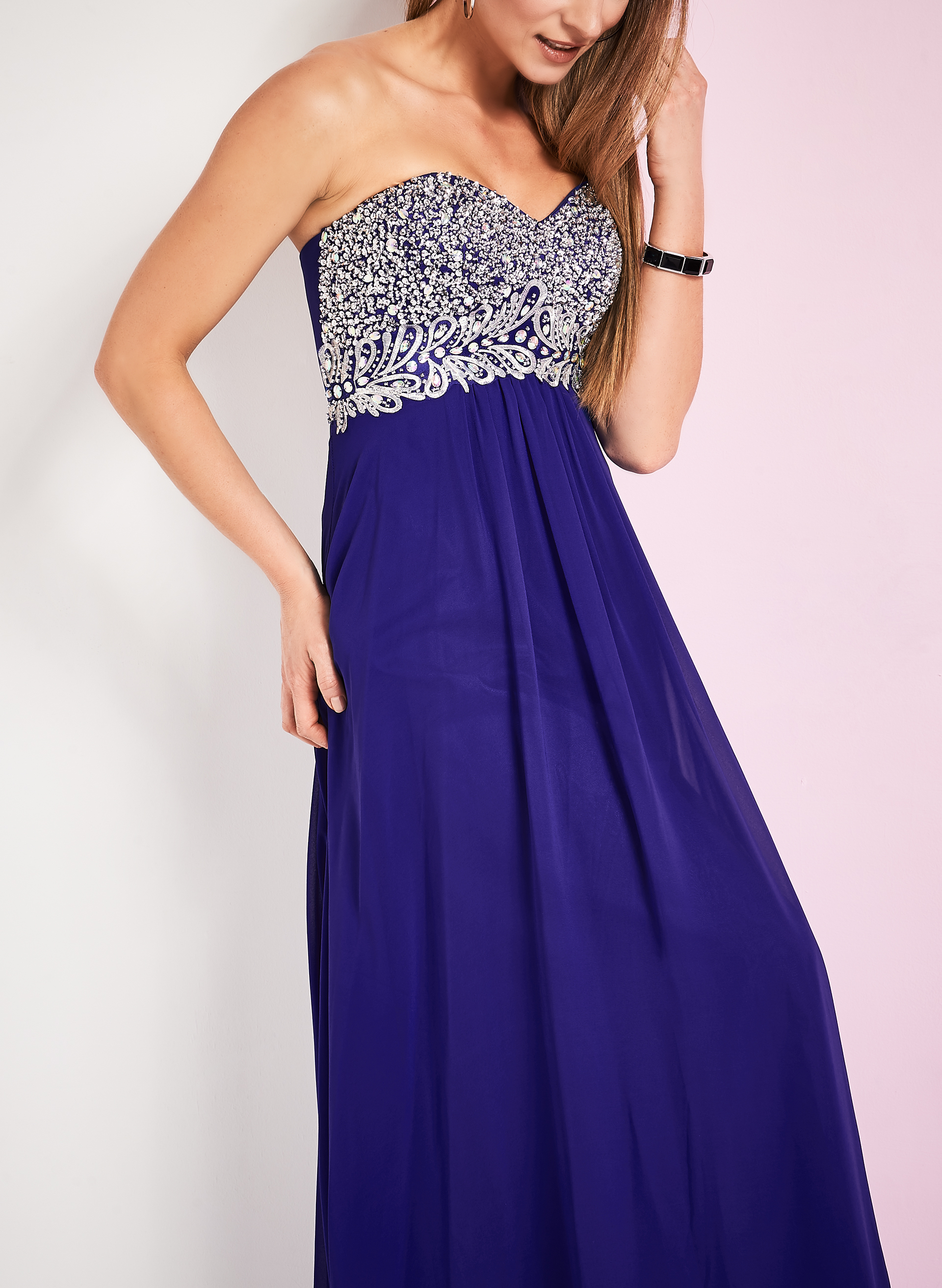 Strapless Beaded Bodice Gown, Blue, hi-res