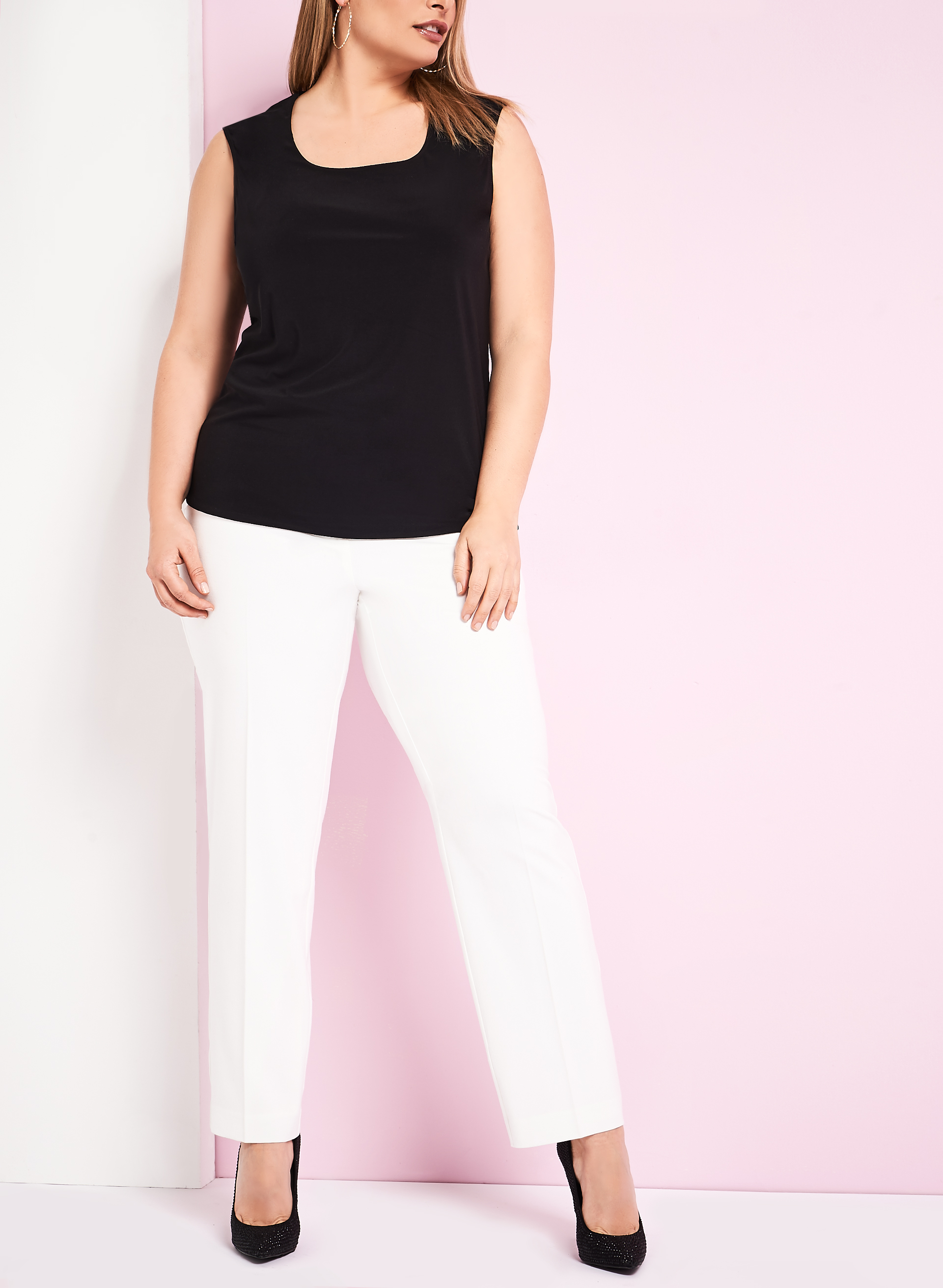 Front Button Straight Leg Pants, Off White, hi-res