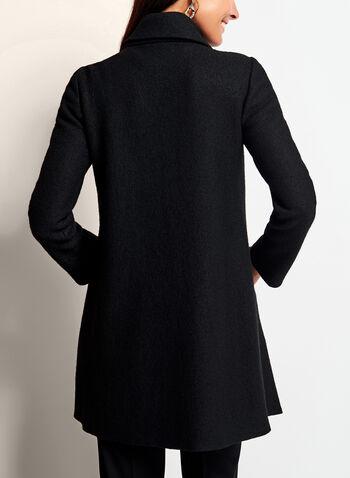 Drape Front Wool Blend Coat, , hi-res