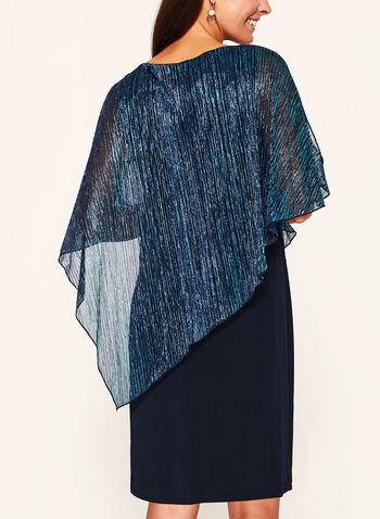 Robe poncho plissée à fibre métallisée , , hi-res