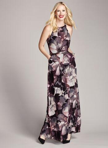 Floral Print Cleo Neck Belted Gown, , hi-res