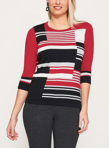 3/4 Sleeve Stripe Print Knit Sweater, , hi-res