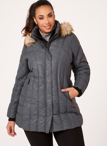 Hooded Faux Down Quilted Coat, , hi-res