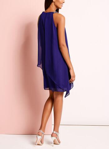 Drape Front Embellished Keyhole Dress, , hi-res