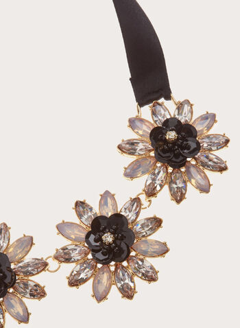Crystal Flower Satin Necklace, , hi-res