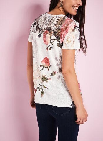 Rose Print Crochet Yoke T-Shirt, , hi-res
