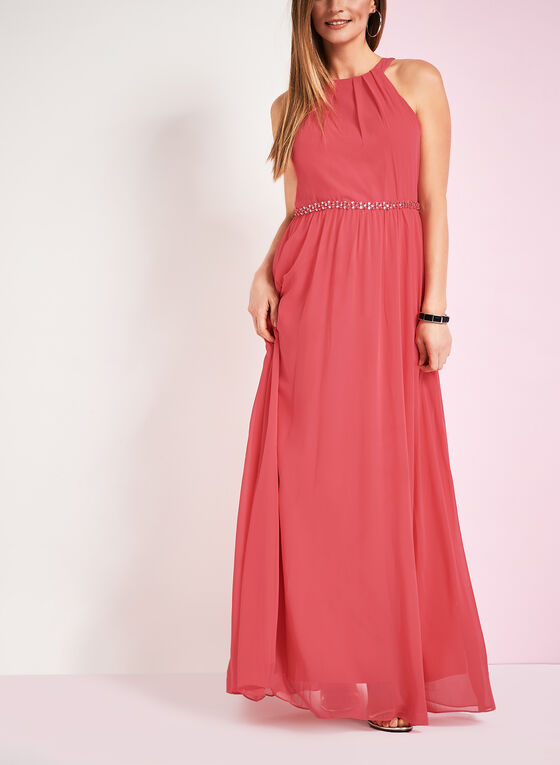 Tuck Neck Beaded Waist Gown, Red, hi-res