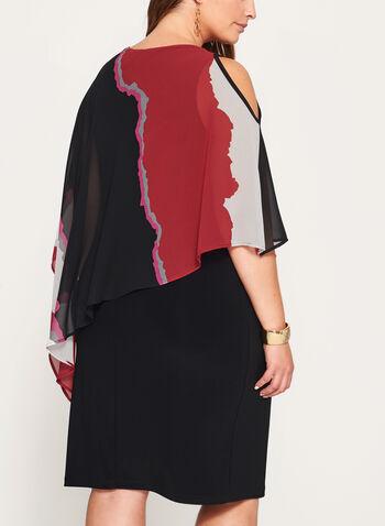 Robe poncho à motif abstrait et épaules dénudées, , hi-res