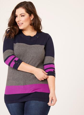 Colour Block Button Trim Sweater, , hi-res