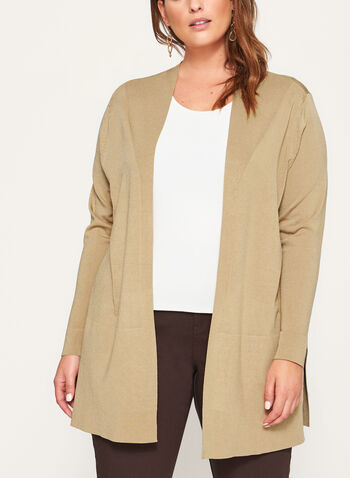 Open Front Oversize Knit Cardigan, Brown, hi-res