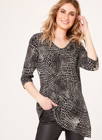 Asymmetric Abstract Print Tunic, , hi-res