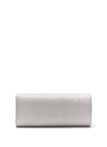Metallic Trim Glitter Flapover Clutch, , hi-res