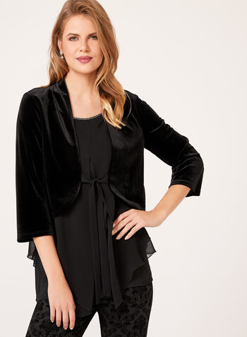 Bell Sleeve Velvet Jacket, , hi-res