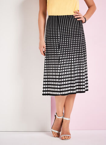Graphic Print A-Line Midi Skirt, , hi-res