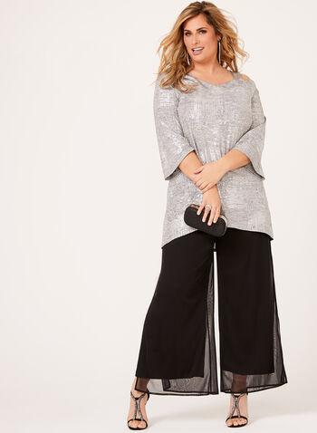 Metallic Cold Shoulder Knit Tunic, , hi-res