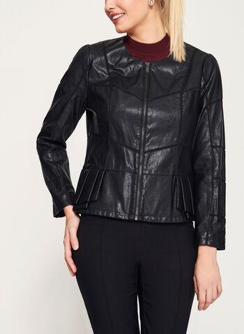 Peplum Detail Faux Leather Jacket, , hi-res