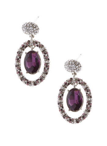 Crystal Center Dangle Drop Earrings, , hi-res
