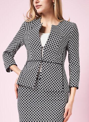 Contrast Trim Dot Print Jacket, , hi-res