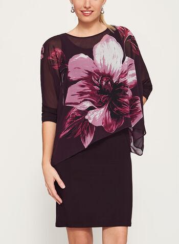 Floral Print Poncho Dress, , hi-res
