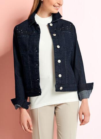 Embellished Embroidered Denim Jacket, , hi-res