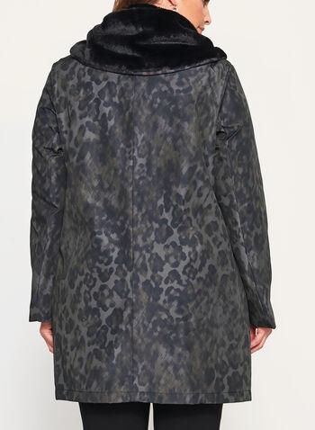 Novelti - Camo Print Faux Fur Trim Coat, , hi-res