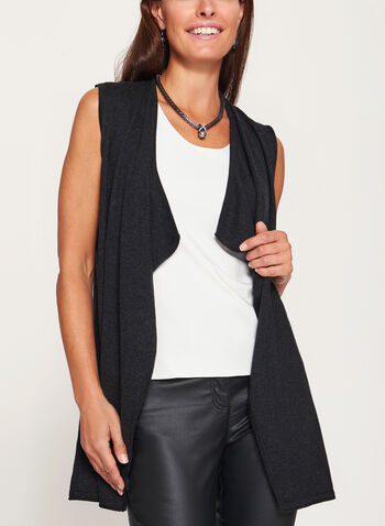 Cascade Front Sleeveless Knit Vest, , hi-res