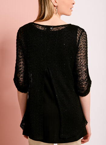 3/4 Sleeve Mesh Knit Double Layer Top, , hi-res