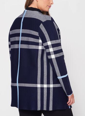 Plaid Double Knit Open Front Cardigan, , hi-res