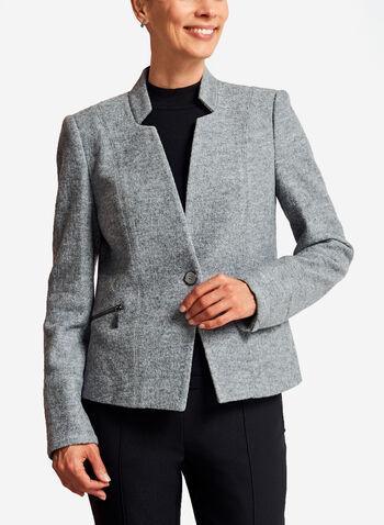 Zipper Trim One-Button Wool Jacket, , hi-res