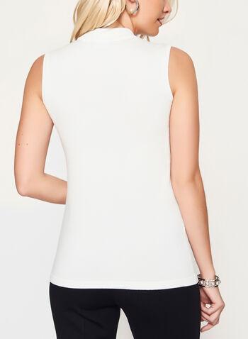 Mock Neck Jersey Knit Top, Off White, hi-res