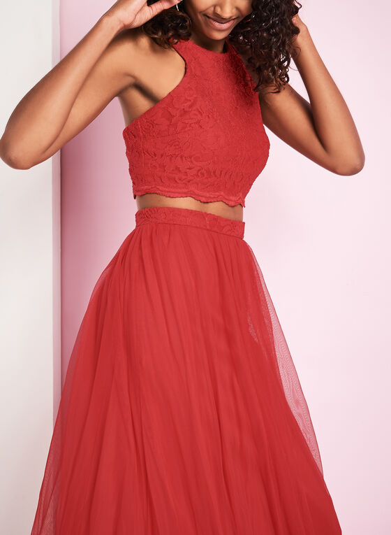 Two Piece Lace & Mesh Gown , Red, hi-res