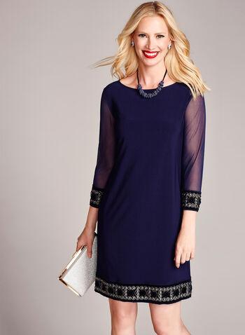 3/4 Sleeve Embellished Trim Shift Dress, , hi-res