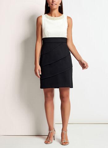 Pearl Trim Tiered Contrast Dress, , hi-res