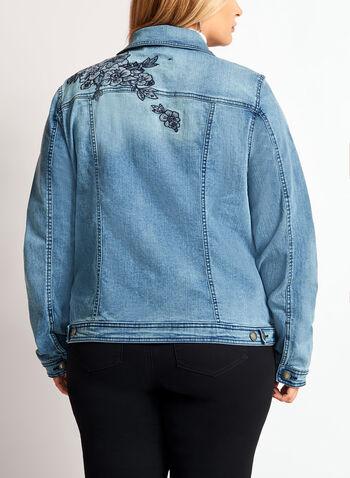 Floral Embroidered Denim Jacket, , hi-res
