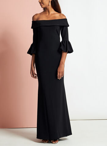 Off The Shoulder Puff Sleeve Gown, , hi-res