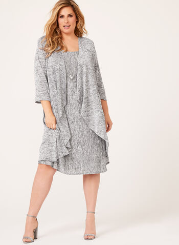 Crinkle Knit Dress with Cardigan, , hi-res