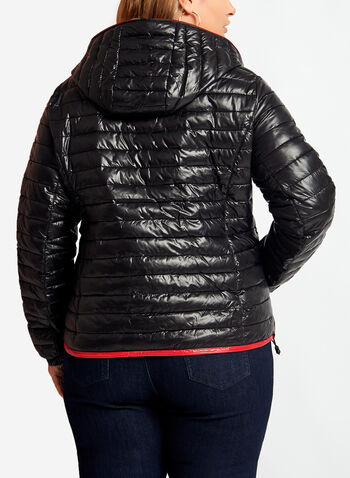 Quilted Contrast Packable Coat, , hi-res